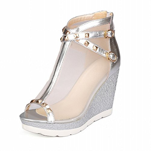 Carolbar Womens Peep Toe Zip Buckles Studded Rivet Shiny Voile Mesh Wedges Sandals Summer Boots Silver