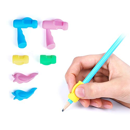 TM Grips 8-ct Coolzu Pencil Writing Classroom Tools Grips for Kids and Adults Comfortable Ergonomic Handwriting 2 Type Assorted Colors Pack 8 Count