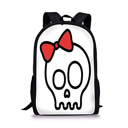 (School Bags Skull,Illustration of Baby Skull Girl with Lace and Halloween Dead Head Teen Emo Art,Red White Black for Boys&Girls Mens Sport)