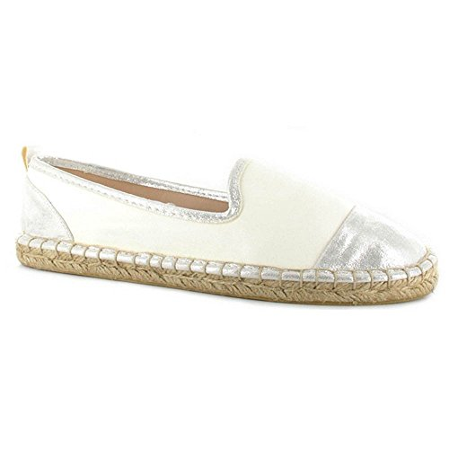 Ella Mabelle White Faux Leather Espadrille Sandals - ell-mab-WTO - UK4/EU37, White