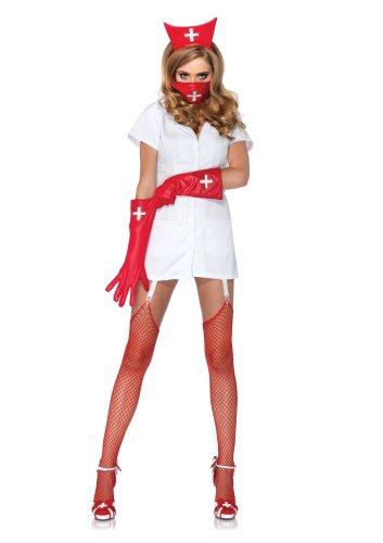 Leg Avenue Costumes 4Pc.Psycho Nurse Sally Garter Dress Face Mask Arm Piece Headpiece, White, -