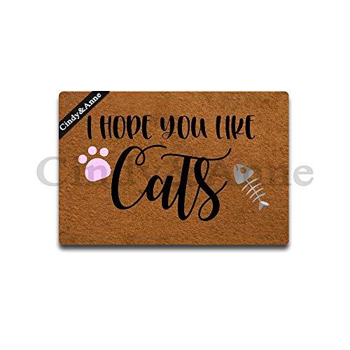 Cindy&Anne I Hope You Like Cats Doormat Cats Lover Doormat Creative Designed Door Mat Indoor Outdoor Decorative Doormat Non-Slip Rubber Door Mat 23.6