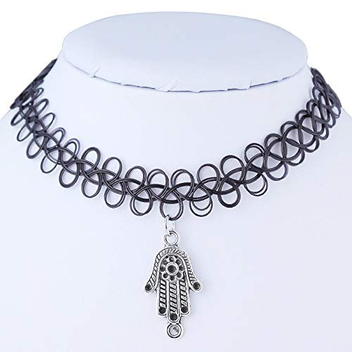 Bergamot Necklace,Haluoo Black Vintage Stretch Henna Tattoo Choker Retro Personalized Stainless Steel Bergamot Pendant Bib Collar Necklace For Women Girls Fashion Jewelry Adjustable (Bergamot Pendant)