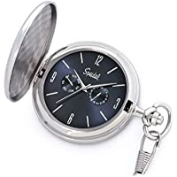 """Speidel Classic Brushed Satin Silver-Tone Engravable Pocket Watch with 14"""" Chain, Navy Blue Dial, Seconds Hand, Day and Date Sub-Dials"""