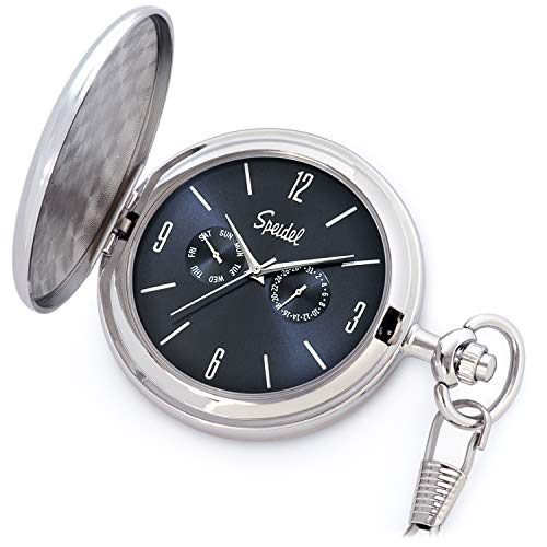 (Speidel Classic Brushed Satin Silver-Tone Engravable Pocket Watch with 14