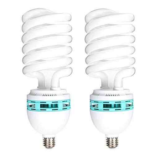 Price comparison product image Runshuangyu Energy Saving Compact Fluorescent Spiral Bulb,  2 x 125W 220V 5400K CFL Daylight E27 Socket Light Lamp for Photography Photo Video Studio Lighting