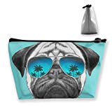 Double Y Glasses Pug Women Cosmetic Bags Portable Pouch Trapezoidal Storage Bag Travel Bag with Zipper