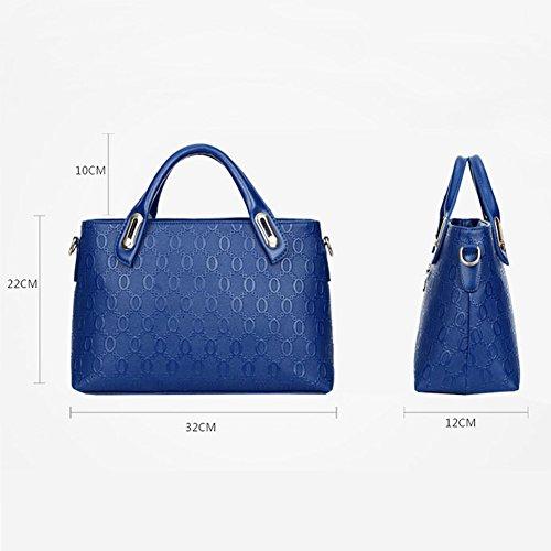 Damen PU Leder Handtaschen 4 Set Umhängetasche Frauen Handtaschenset Geldbörse Vintage Style Leder Tasche Handgelenktasche - Très Chic Mailanda Blau jEgeQCRiFI
