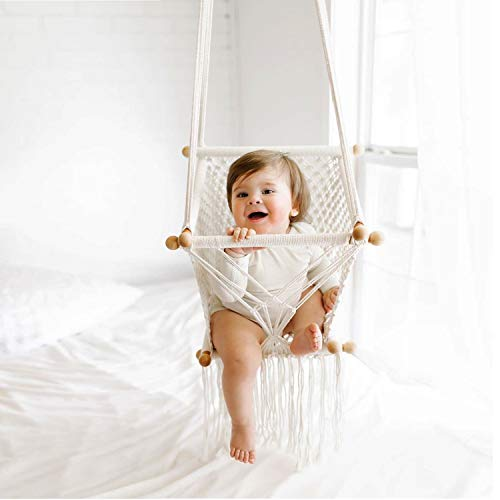 HAN-MM Hanging Swing Seat Macrame Hammock Baby Swing for Infant to Toddler Beige Cotton Rope Weaved Nursery Decor Girl Birthday Gift