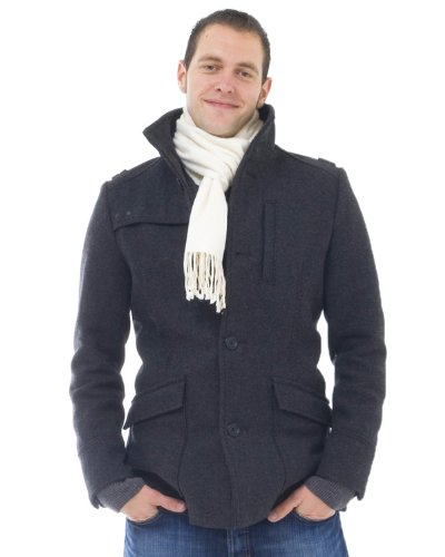 (Men's pure brushed silk scarf - colour: cream)