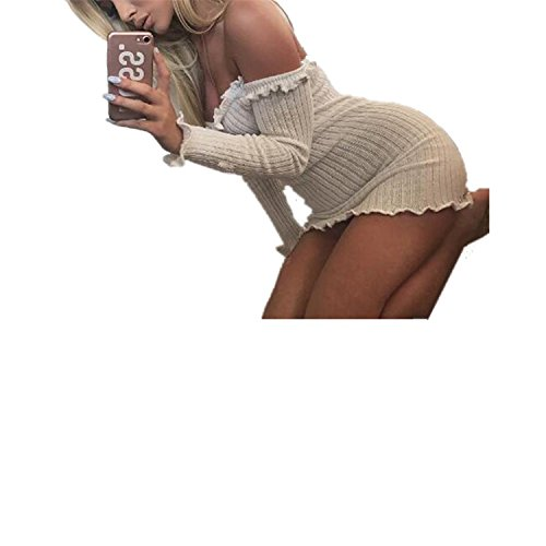 SDHEIJKY Sexy Off Shoulder Club Women Dress Slim Bodycon Dress Elastic Dresses -