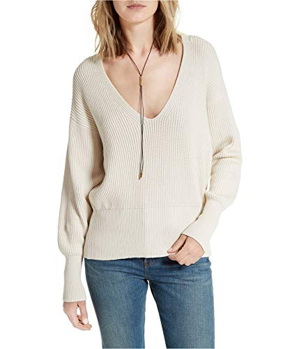 Free People Womens Allure Ribbed Knit V-Neck Pullover Sweater Ivory M