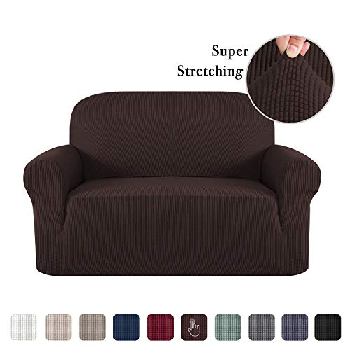 (Flamingo P Stretch Sofa Slipcover 1 Piece Sofa Covers for 2 Cushion Couch Slipcovers Machine-Washable Sofa Slipcover for Loveseat, Jacqaurd Spandex Sofa Slip Cover for Leather (2 Seater, Brown))