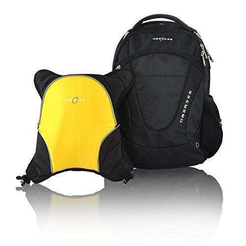 Obersee Oslo - Mochila para pañales con bolsa isotérmica separable (negro y amarillo)