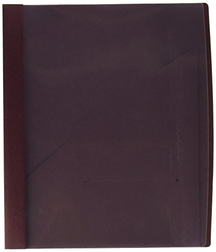 Closeout 5 Covers - Wilson Jones Frosted Front Report Covers with Pocket, 3-Hole Punched, Burgundy, 5 Covers per Pack (W71110C)