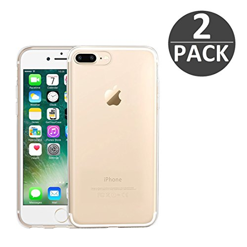 wortek 2er Set Designer High Quality TPU Silikon - Case für Apple iPhone 7 Plus Schutz Hülle Transparent mit Kameraschutz