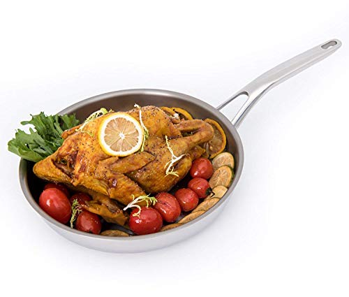 HUFTGOLD Tri-Ply Titanium Fry Pan, More Healthier Cookware, 10' Professional Ti-Composite Skillet