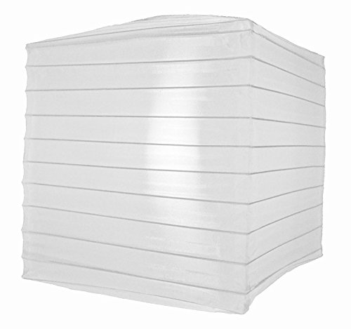 Quasimoon PaperLanternStore.com 12 Inch White Nylon Square Lantern