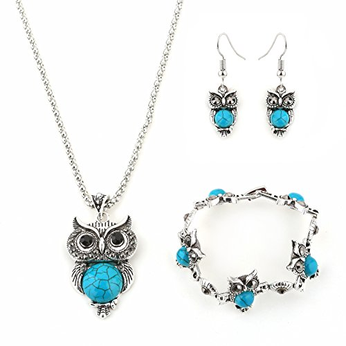 Miraculous Garden Womens Vintage Owl Jewelry Sets Silver Retro Turquoise Gemstone Owl Pendant Necklace Drop Earrings Charm Bracelet Set (Antique Silver)