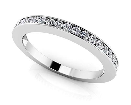 Or blanc 14K Vingt canal Lot de diamants anniversaire Bague