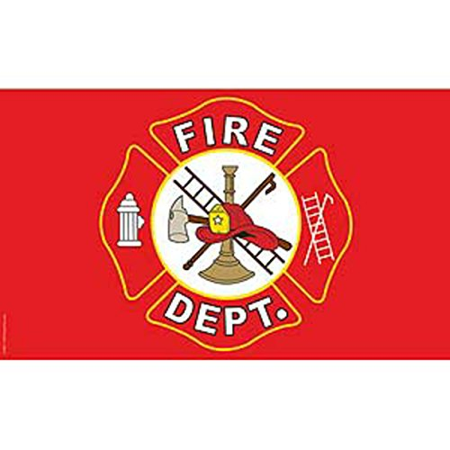 Fire Department Red/White Logo Super Poly Full Sized Flag