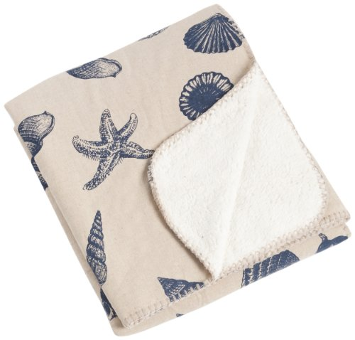 SARO LIFESTYLE TH131.IN5060 Nautical Design Throw with Sherpa, Indigo, 50