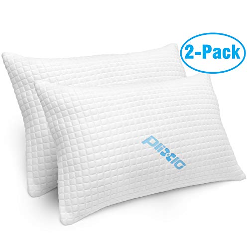 (2 Pack Shredded Memory Foam Bed Pillows for Sleeping - Bamboo Cooling Hypoallergenic Sleep Pillow for Back and Side Sleeper - Queen Size)