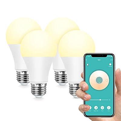 Smart Light Bulb,Konke WiFi LED Bulb A19 E26 Compatible wth Alexa,Google Home,Assistant,No Hub Required,4 Pack