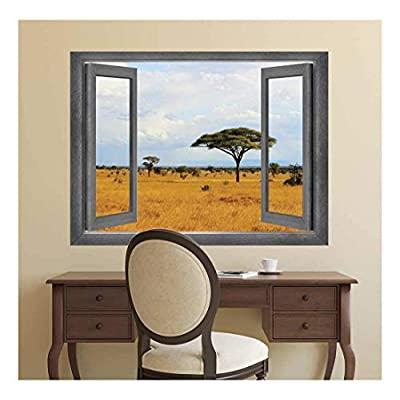 Open Window Creative Wall Decor - Beautiful View of a Tree Field - Wall Mural, Removable Sticker, Home Decor - 24x32 inches