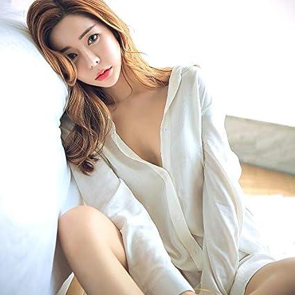 eea035e5e7e7 WXNLEAI Sexy pijama camisón servicio a domicilio camisa blanca larga ...
