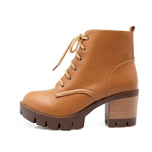 Brown Solid Allhqfashion Closed Heels top PU Kitten Boots Toe Women's Low Round PBxqwPnRg