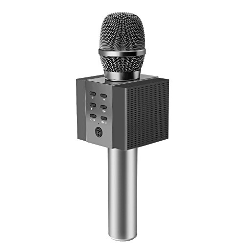 TOSING 008 Wireless Bluetooth Karaoke Microphone,Louder Volume 10W Power, More Bass, 3-in-1 Portable Handheld Double Speaker Mic Machine for iPhone/Android/iPad/PC (Black) by TOSING