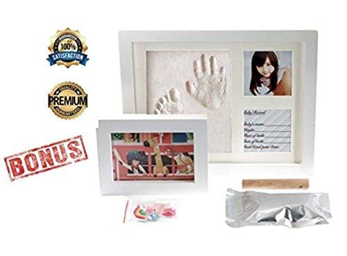 ARASLTD Baby Handprint Kit & Footprint Photo Frame for Newborn Girls and Boys, Personalized Baby Gifts, Keepsake Box Decorations for Room Wall Nursery, Baby Photo Album For Shower Registry