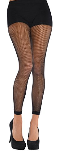 Amscan 844790 Fishnet Footless Tights, Standard, - Tights Footless Cuff