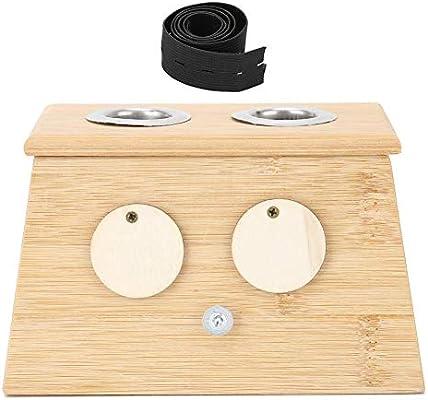 2 agujeros de bambú Moxa caja para moxibustión Moxa soporte para bastón de rodillo soporte para bastón de moxibustión caliente caja para moxa soporte para moxibustión Moxa Terapia para medicina de mo: