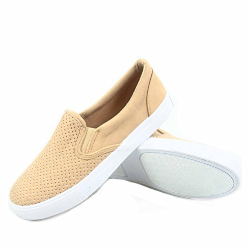Image of SODA Tracer-S Women's Cute Perforated Slip On Flat Round Toe Sneaker Shoes