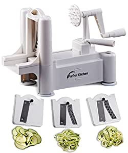 iPerfect Kitchen Tri Blade Vegetable Spiralizer - Best Spiral Slicer , Peeler , Shredder , Zucchini Spaghetti Pasta Maker You'll Ever Use - Makes Veggie Noodles and Cut Vegetables in Minutes
