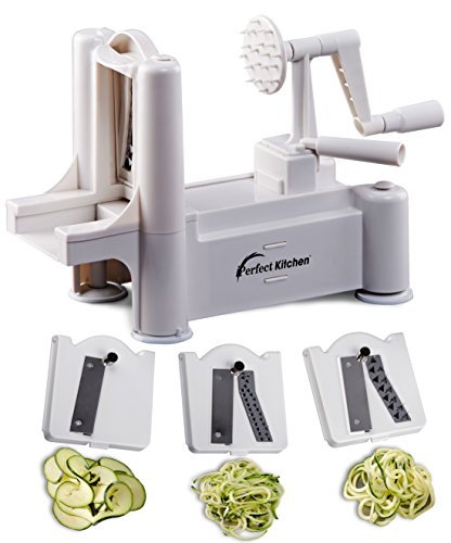 iPerfect Larder Tri Blade Vegetable Spiralizer - Best Spiral Slicer , Peeler , Shredder , Zucchini Spaghetti Pasta Maker You'll Continuously Use - Makes Veggie Noodles and Cut Vegetables in Minutes