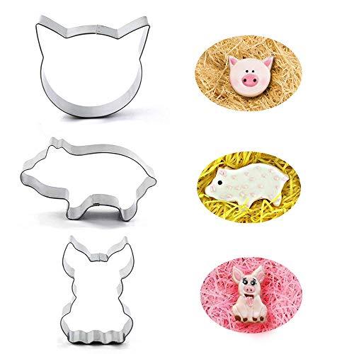 Pig Cookie Cutter Set-2 Inches-3 Piece-Pig Face, Pig Body, Farm Pig Cutter Fondant Molds.]()