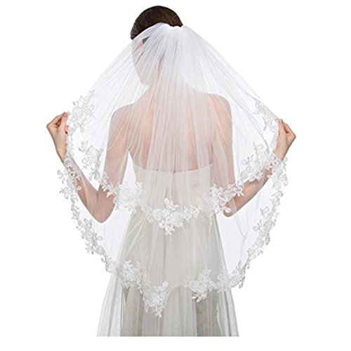 Discount Veils Wedding (Angel Dress Shop Angel Dress Shop 3T Two-tier Elbow Length Elegant Lace Applique Edge Bridal Wedding Veils with Comb)
