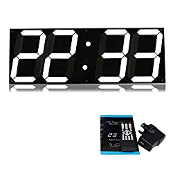 T Tocas 18-inch Jumbo Digital White LED Wall Clocks w/Thermometer, Calendar, Snooze, Remote Controller Black Background