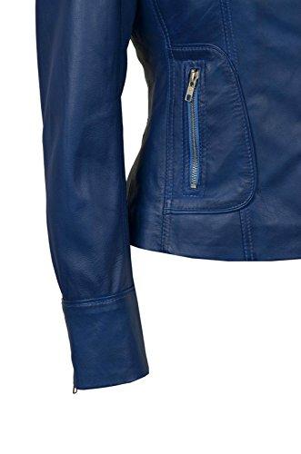 Motard Biker Bleu Nappa Délavé Leather Soft Mesdames 9823 Style Réel Jacket Motorcycle IgSqE75