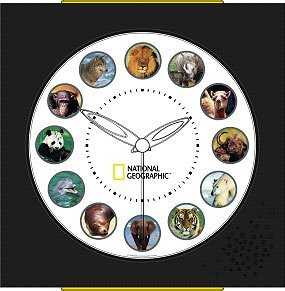 National Geographic Animal Wall Clock - Fun and Educational Wall Clock That Anounces Animal Sounds Every Hour!