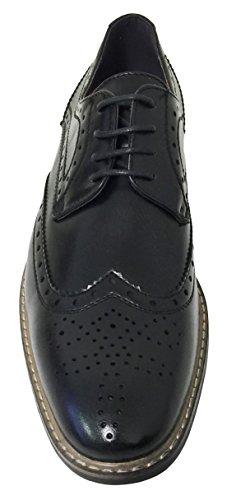 G4u-parrazo Bc2d Mens Oxfords Klassiska Vingspets Snörning Läder Fodrade Tillfällig Brogue Mode Finskor, Svart, Brun Svart