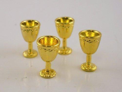 Dollhouse Miniature 1:12 Scale 4 Pc Antique Gold Goblets SET G8175
