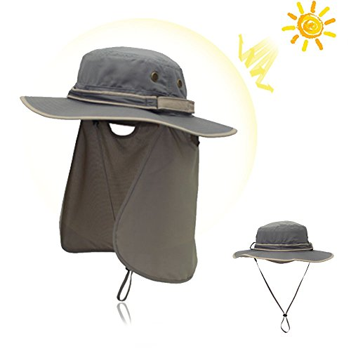 DiDaDi Sun Hat with Neck Flap Cover for Men Women, Quick Drying Wide Brim Bonnie Hat Breathable Lightweight UV Protection Cap with Windproof Chin Strap for Hiking Fishing Research Travel Outdoor Golf by DiDaDi