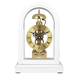 HENSE Regulator Mechanical Wind-Up Mantel Chime Clocks with Clear Doors on Front & Back Side HD13(White)
