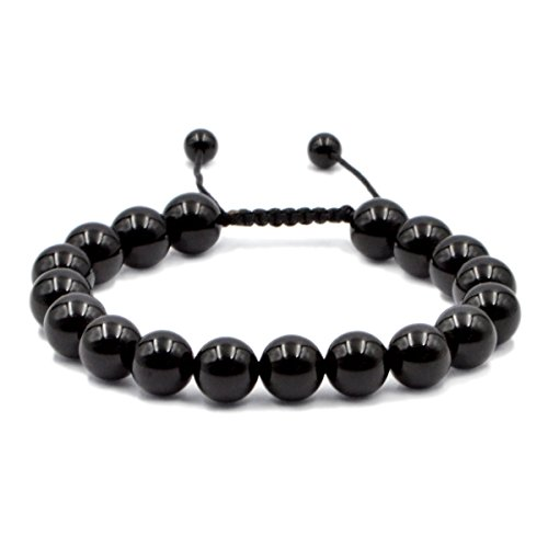 AD Beads Natural 10mm Gemstone Bracelets Healing Power Crystal Macrame Adjustable 7-9 Inch (Black Onyx)
