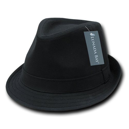 DECKY Basic Poly Woven Fedora, Black, Large/X-Large