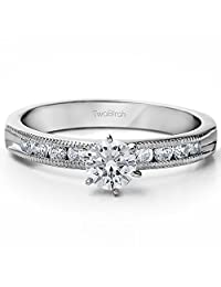 0.9 ct. Charles Colvard Created Moissanite Traditional Vintage Engagement Ring in Sterling Silver (0.9 ct. twt.)